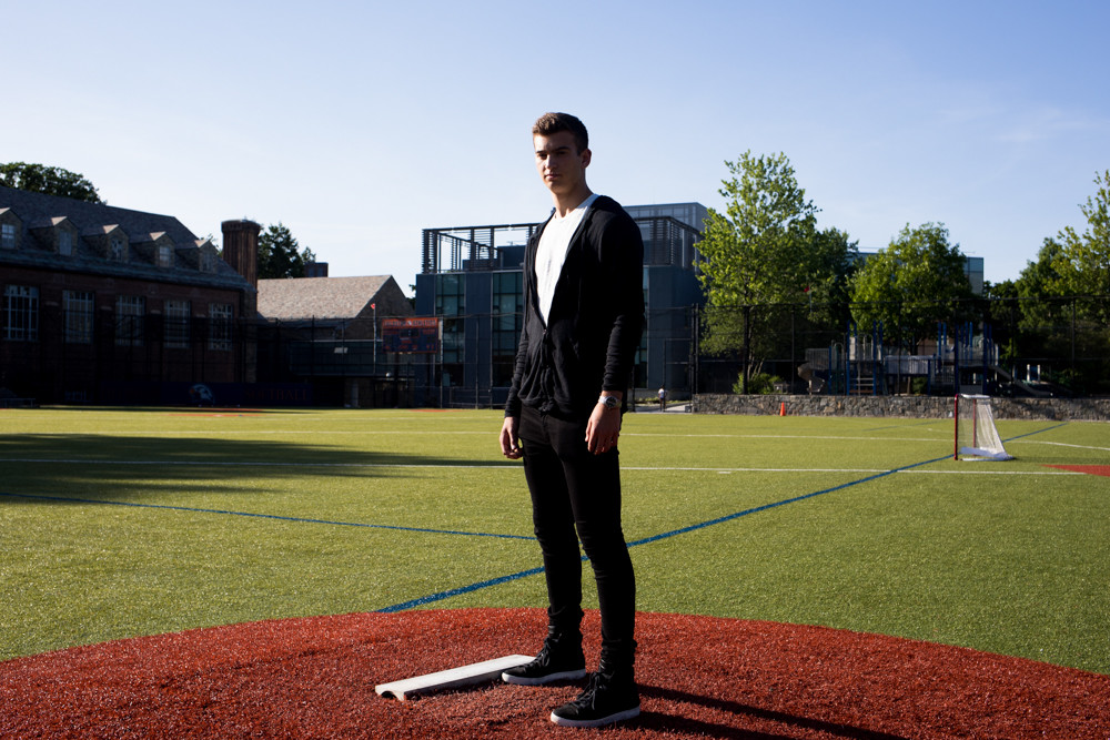 Marc Mendel, who dominated his opponents for Fieldston this past season, takes one last stand on his mound at Fieldston before heading west to join the Kansas Jayhawks baseball program.