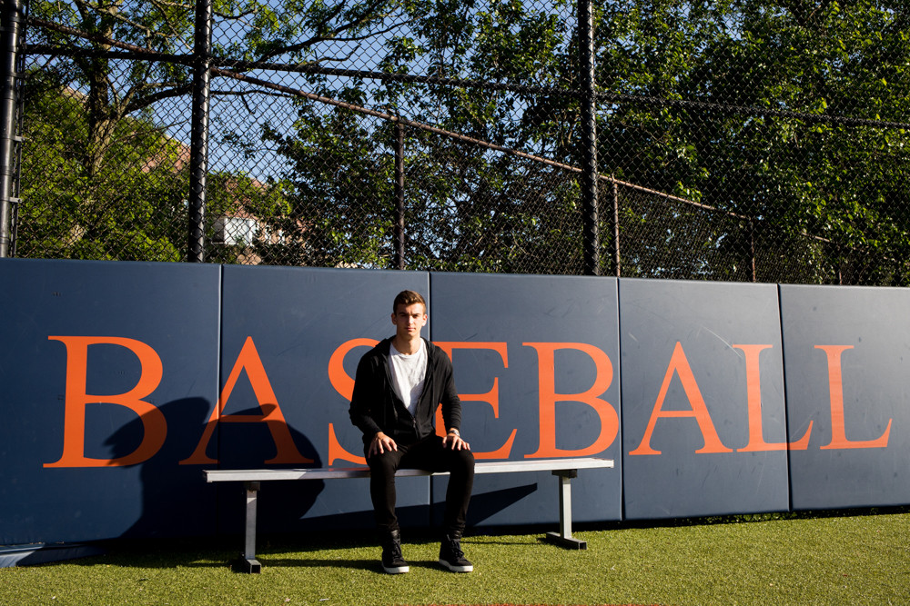 Just as the sign behind him attests, baseball is a big deal for former Fieldston star Marc Mendel, who is now taking those talents to Kansas University