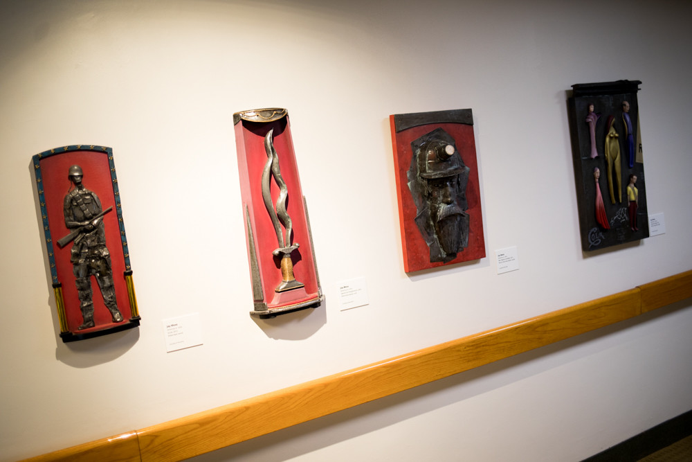'Swords Into Ploughshares' features works reminiscent of Jay Moss' time as a soldier on the front lines of World War II. The exhibition brings together sculptures Moss made between 1980 and 2012, and is on display at the Derfner Judaica Museum + The Art Collection at Hebrew Home at Riverdale.