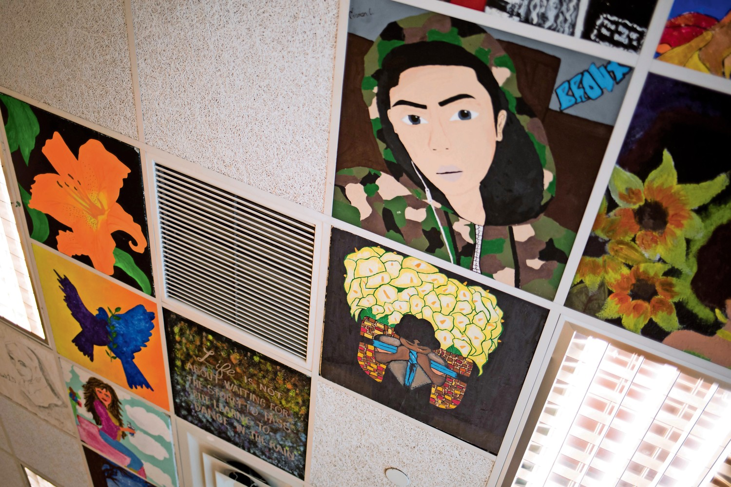 One of Bruno Santini's artistic legacies at IN-Tech Academy is the painting of ceiling tiles that can be found throughout the school. In his classes, Santini offered students the opportunity to create a tile during any given marking period, which would exempt them from a regular assignment.