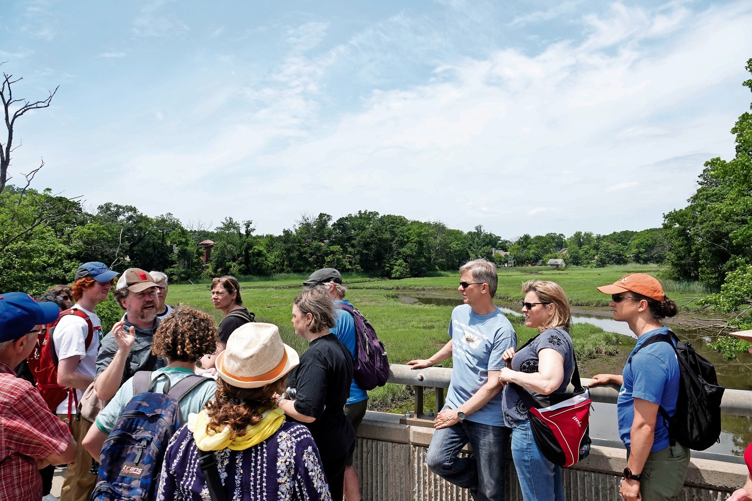 People take part in a tour of Lemon Creek on Staten Island led by NYC H2O, an organization that seeks to educate people about New York City's water system. NYC H2O will host a new walking tour in and around Marble Hill that will show the history of the Harlem Ship Canal on Aug. 4.