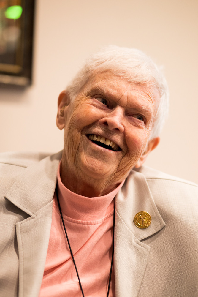 Sister Frances Devine laughs as she recalls a fond memory. A nun with the Sisters of Charity of New York, Devine turned 100 on Aug. 4.