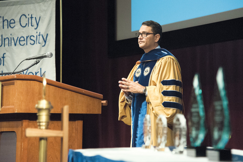 Lehman College president José Luis Cruz shares stories of his own struggle and achievement at school as he makes his first address to Lehman students during a September 2016 convocation. Cruz has joined the Regional Plan Association, an organization dedicated to providing New York City with a better economic and development environment.