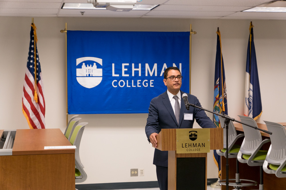 Lehman College president José Luis Cruz speaks at the opening of the school's virtual reality lab last year. Cruz has joined the Regional Plan Association, an organization dedicated to providing New York City with a better economic and development environment.