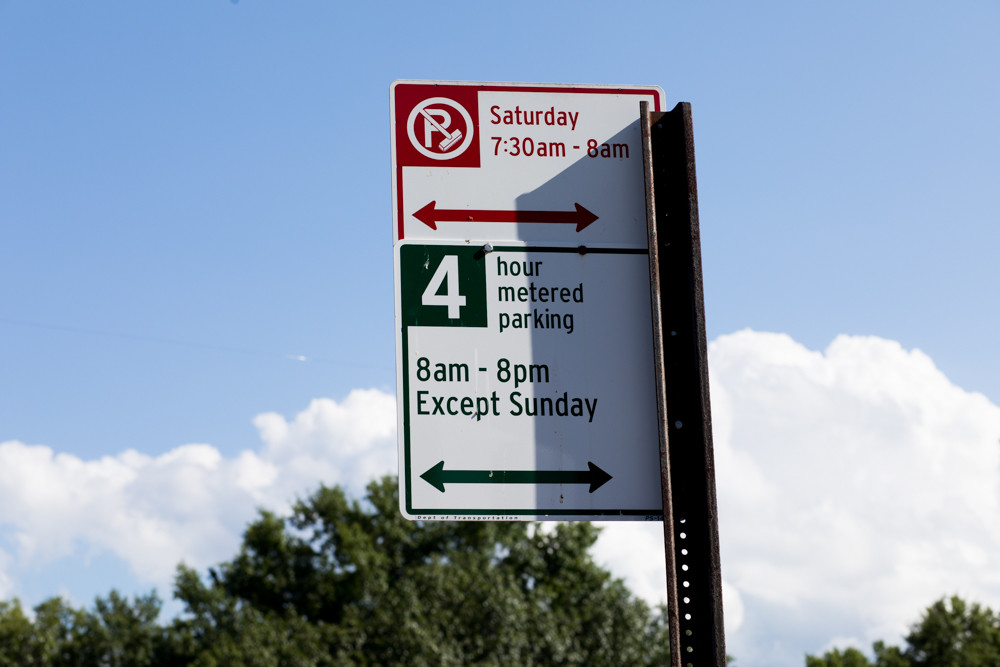 An updated parking sign shows the new time limit for metered parking on Manhattan College Parkway at four hours. The city made the change Aug. 24 from what was originally 12 hours.