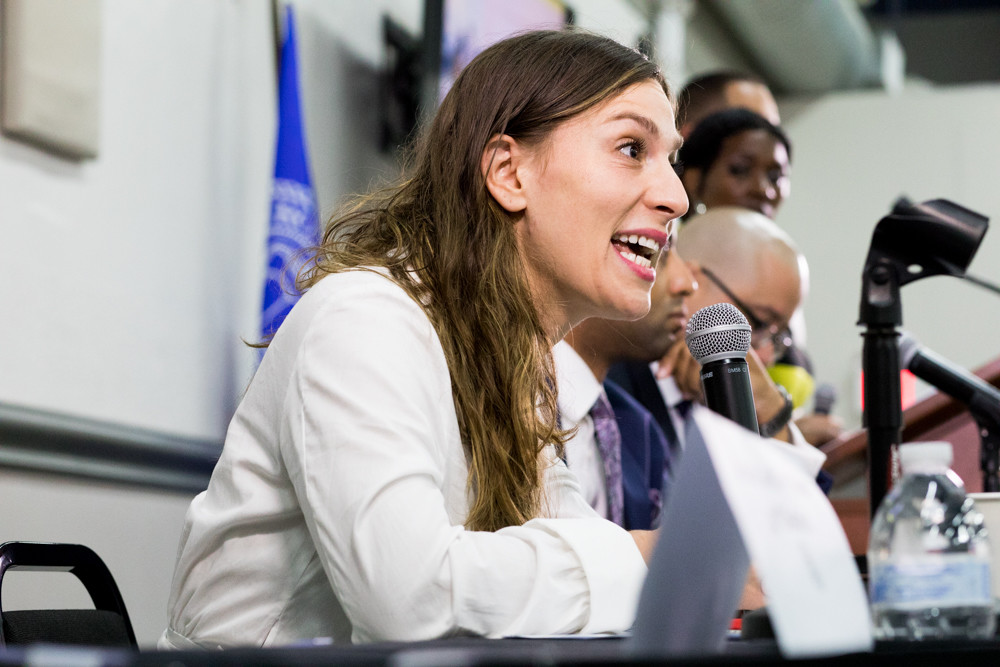 Alessandra Biaggi — who's mounted a challenge for state Sen. Jeffrey Klein's seat representing parts of the Bronx and Westchester County — responds to a question at a nonpartisan candidates forum organized by the Northwest Bronx Community and Clergy Coalition on Aug. 22.