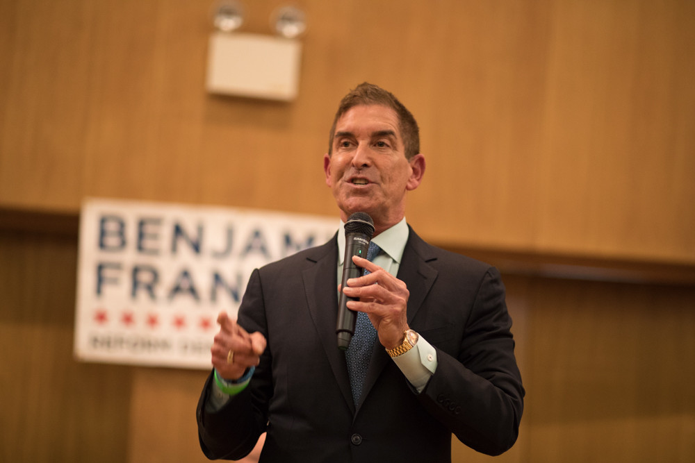State Sen. Jeffrey Klein speaks to a packed house of at least 150 Benjamin Franklin Reform Democratic Club members at the Riverdale Temple at an endorsement meeting April 25. Klein had come to make the case for members to endorse and send him back to Albany over primary challenger Alessandra Biaggi.