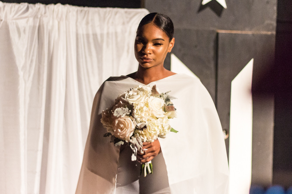 Fashion model Maya Mariner participates in Edwin Reyes' third fashion show at The Point on Sept. 14. Proceeds from the Hunts Point show were donated to relief efforts in Puerto Rico.