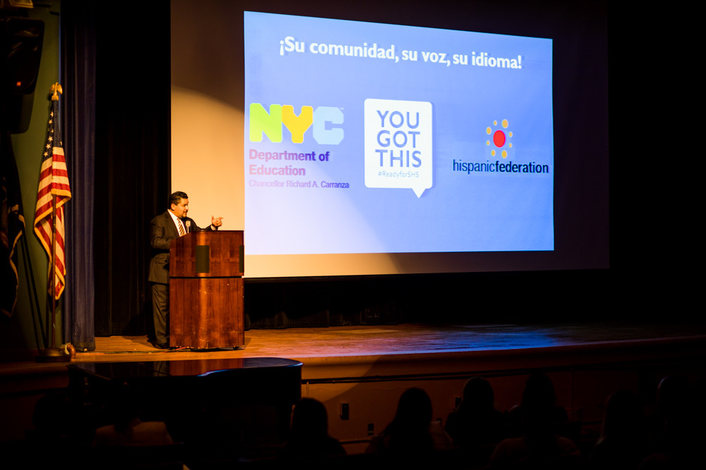 Schools chancellor Richard Carranza speaks in Spanish at the first-ever Spanish-language information session at Bronx High School of Science for students preparing to apply for admission to specialized high schools.