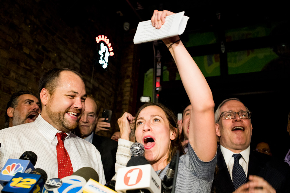 Alessandra Biaggi declares victory in her Sept. 13 primary race against state Sen. Jeffrey Klein at an election party at the Bronx Alehouse on West 238th Street. 'We have now cut the head off the IDC snake,' Biaggi said.