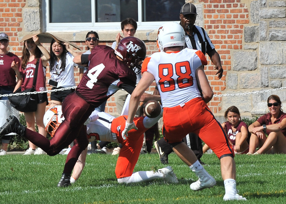 Horace Mann quarterback Brody McGuinn scrambles for a gain in the Lions' victory over Fieldston last Saturday.