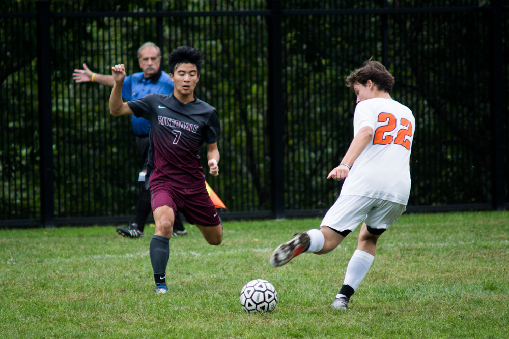 Riverdale's Ryan Chuang (7) tallied a pair of goals in the Falcons' latest win, a 4-0 shutout of rival Fieldston.