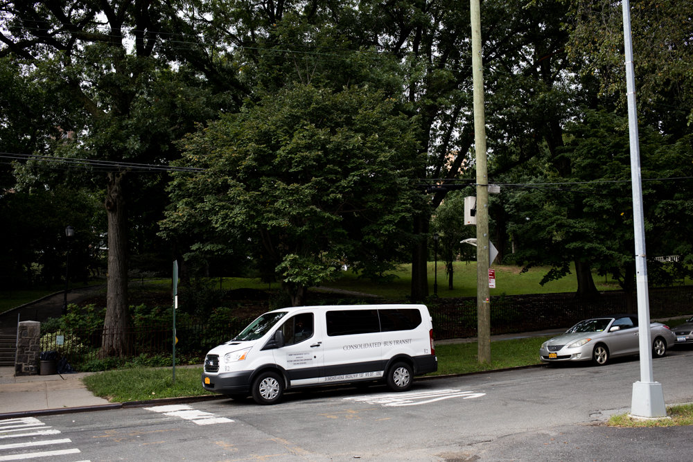 A shuttle waits for passengers at 2665 Independence Ave. Since the closure of the pedestrian pathway on the Henry Hudson Bridge, the MTA is offering a shuttle to carry customers from one side of the bridge to the other.