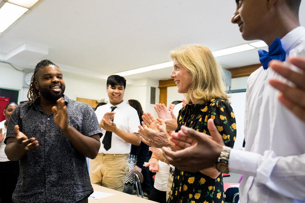 Caroline Kennedy, the former U.S. ambassador to Japan, participates in a classroom activity at the Marble Hill School for International Studies. Kennedy visited the school with the Japanese first lady, Akie Abe.