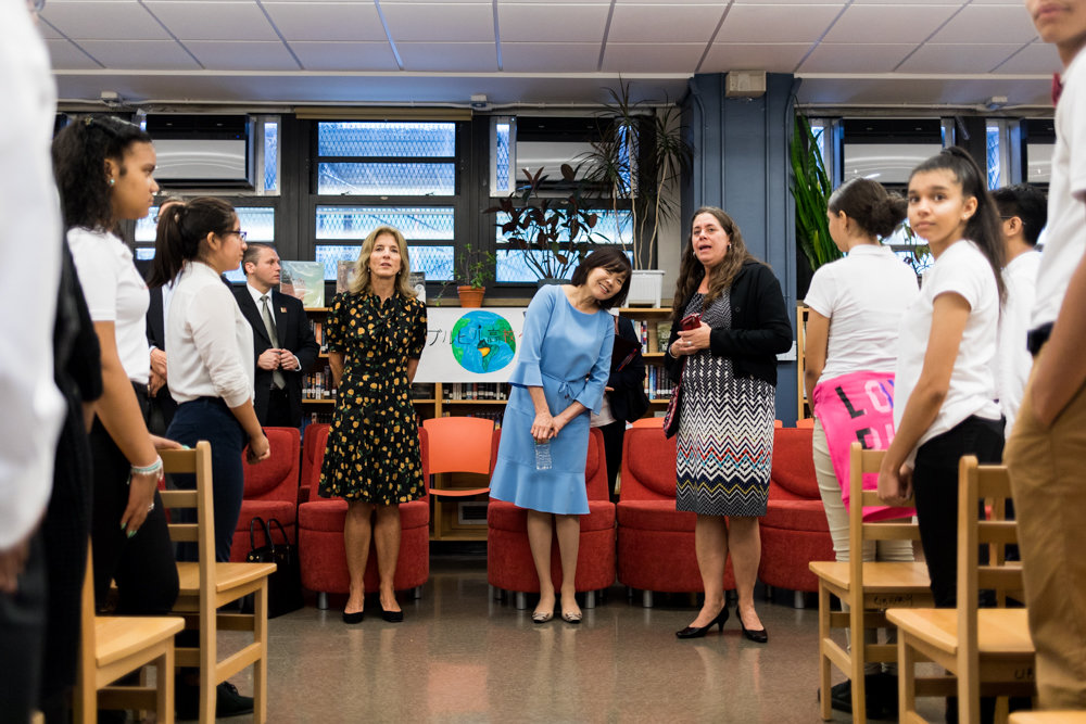 Akie Abe, the first lady of Japan, visits the Marble Hill School for International Studies, which has a robust Japanese language program. Abe also visited the school to check out the DreamYard program, which allows students from Japan to engage in poetry with students from New York City.