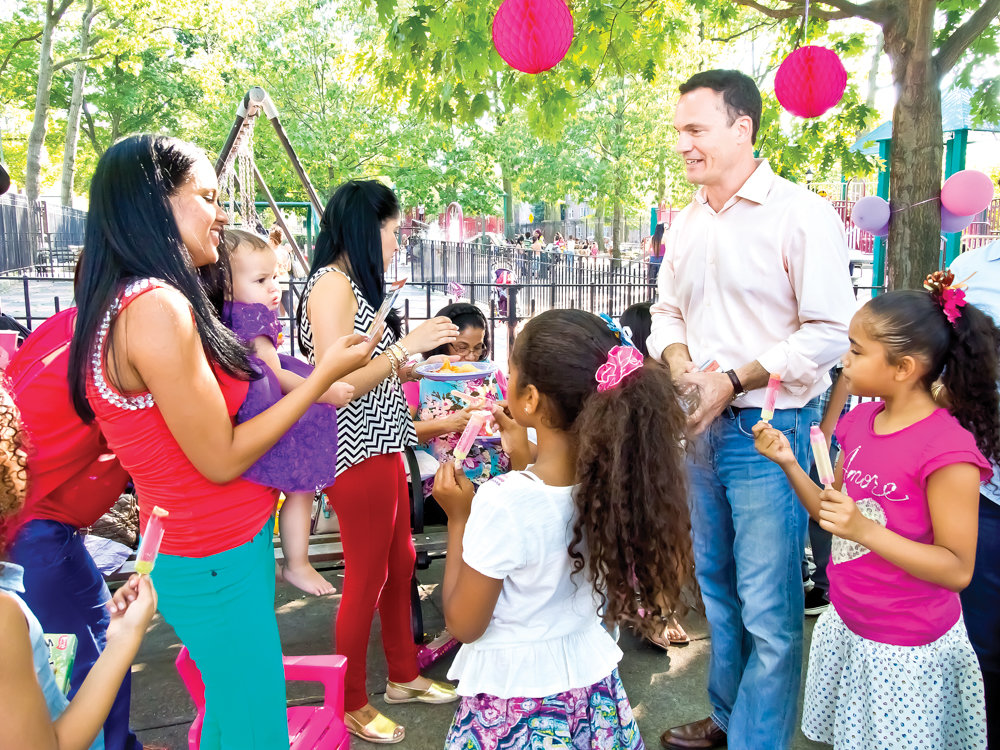 Cliff Stanton hosts a campaign event at the Southwest Playground in Van Cortlandt Park in 2013 during an unsuccessful run for city council. After that loss, he would become greenway director at the Kingsbridge Riverdale Van Cortlandt Development Corp., a role he stepped down from Sept. 27.