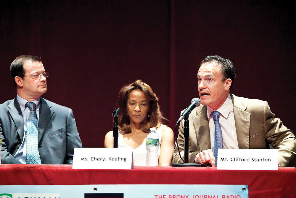 Cliff Stanton participates in a 2013 Democratic primary debate for city council, a race he ultimately lost to Andrew Cohen. On Sept. 27, he stepped down from his most recent position, greenway director at Kingsbridge Riverdale Van Cortlandt Development Corp.
