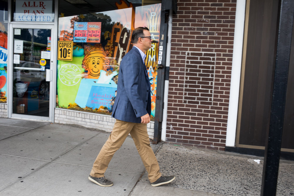 Councilman Andy Cohen takes a walking tour of the Skyview Shopping Center on Riverdale Avenue.