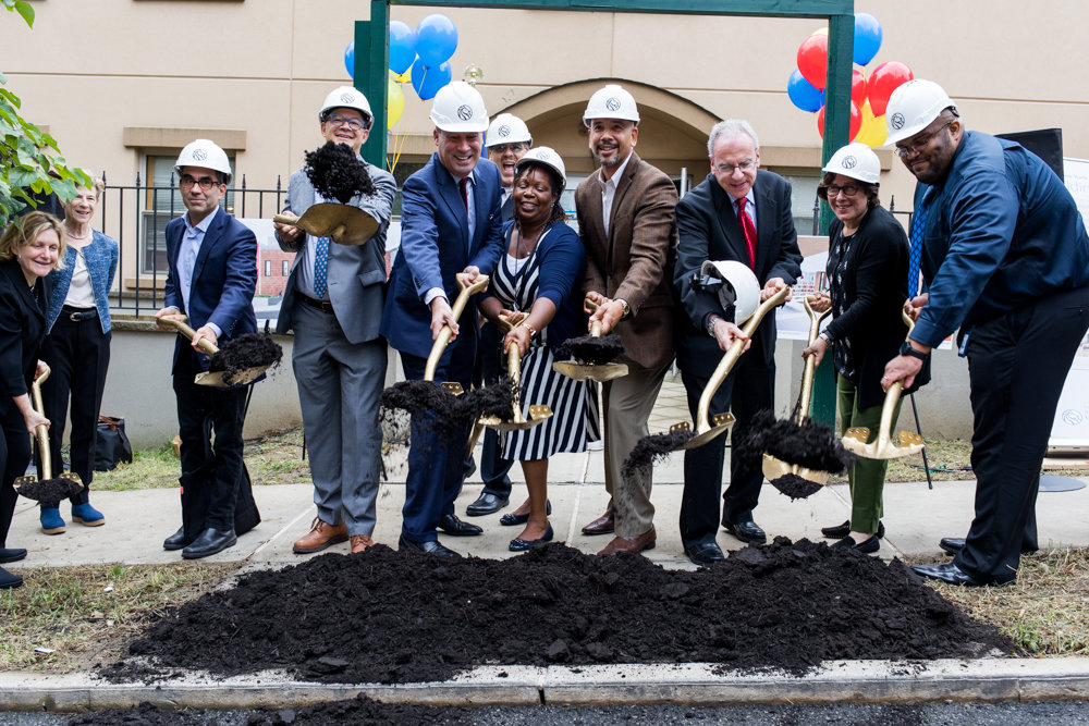 New York Public Library employees and elected officials, including Councilman Andrew Cohen and Bronx borough president Ruben Diaz Jr., break ground on the site of the new Van Cortlandt library at 3882 Cannon Place.