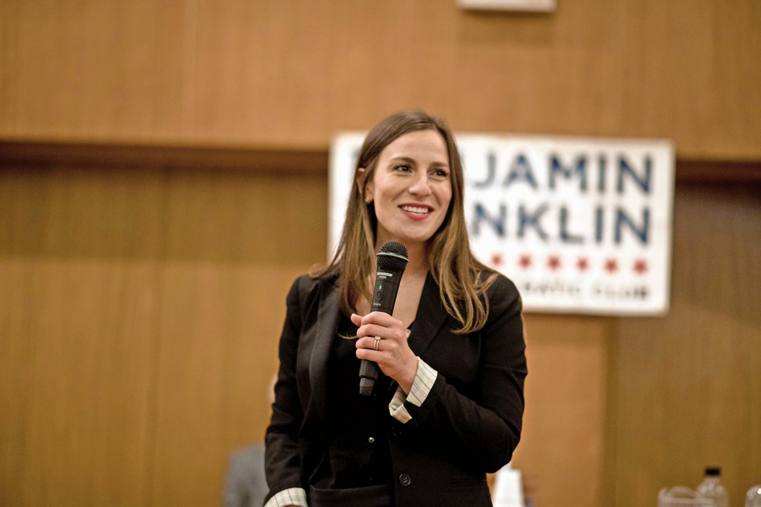 Alessandra Biaggi addresses the crowd at an endorsement meeting held by the Benjamin Franklin Reform Democratic Club on April 25, at which she squared off against incumbent state Sen. Jeffrey Klein, to whom she lost the endorsement. Despite this setback, she prevailed in the primary on Sept. 13.