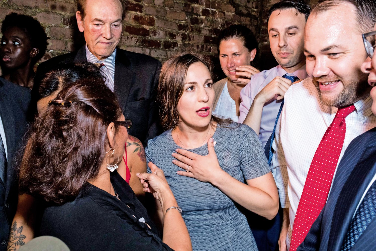 Alessandra Biaggi approaches the stage at the Bronx Alehouse in Kingsbridge to give a victory speech after toppling state Sen. Jeffrey Klein in the Democratic primary on Sept. 13.