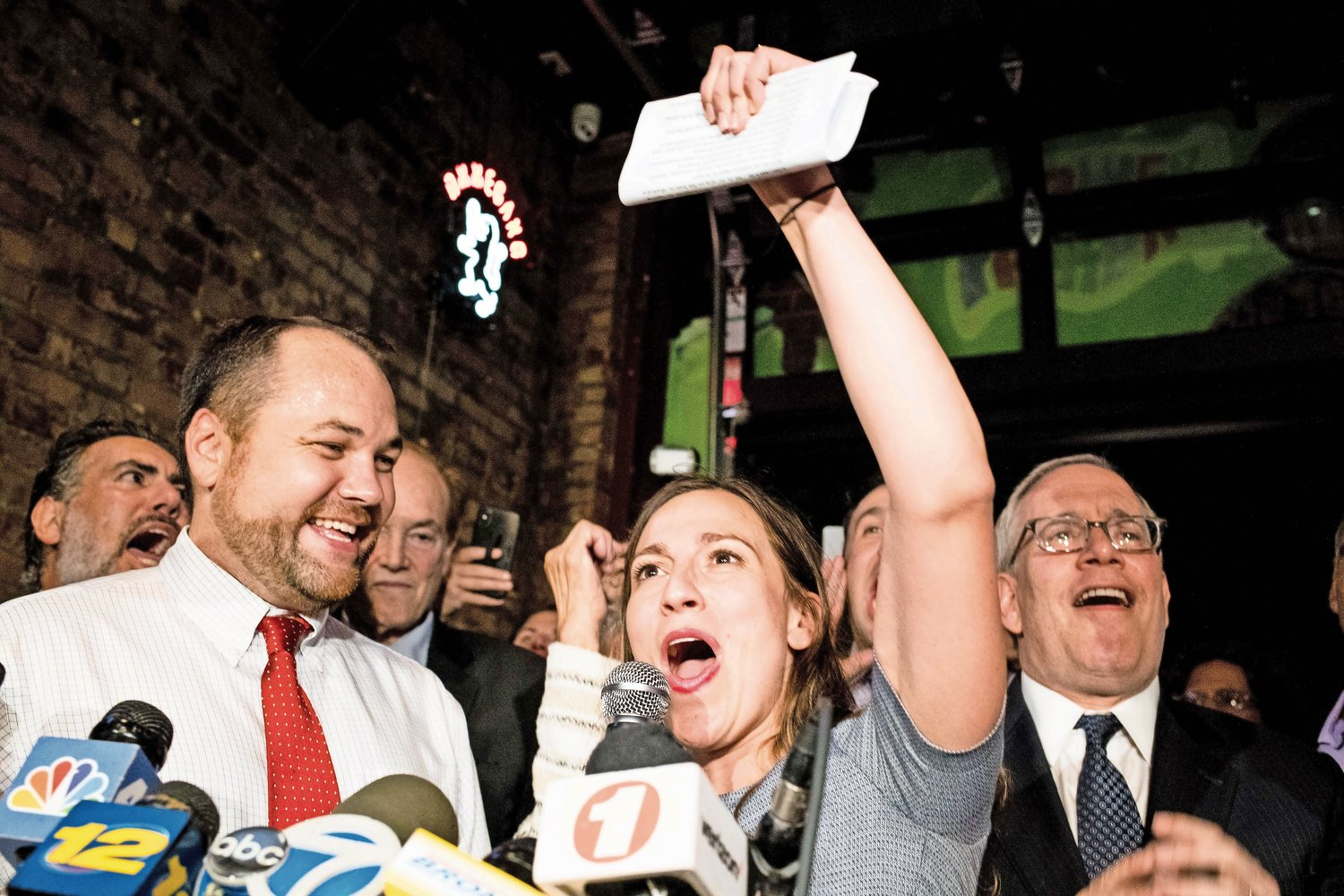 Alessandra Biaggi declares victory in her Sept. 13 primary race against state Sen. Jeffrey Klein at an election party at the Bronx Alehouse on West 238th Street. ?We have now cut the head off the IDC snake,? Biaggi said.