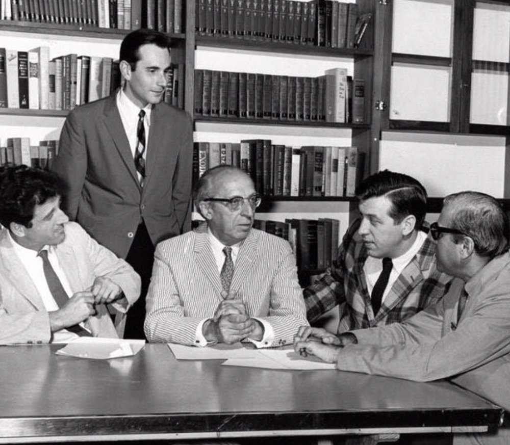 Stanley Silverman talks with faculty at Tanglewood Music Center in Massachusetts in 1962. Silverman went on to compose for various theatre productions, films and television shows over the course of his career.