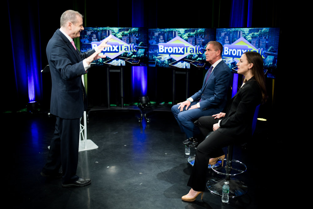 Gary Axelbank speaks with then Democratic state senate primary challenger Alessandra Biaggi and incumbent Jeffrey Klein ahead of a debate he would moderate between the two candidates on BronxNet last August. Ironically, after hosting more than 60 political debates in a career that spans decades, Axelbank claims 'I am not the political guy.'