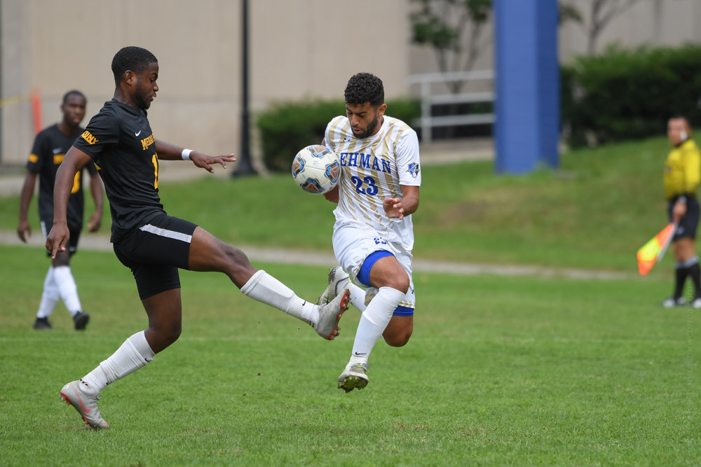 Lehman's Salh Alzubidi helped Lehman to a victory over City College of New York with his seventh goal of the season as the Lightning clinched a spot in the CUNYAC postseason tournament.