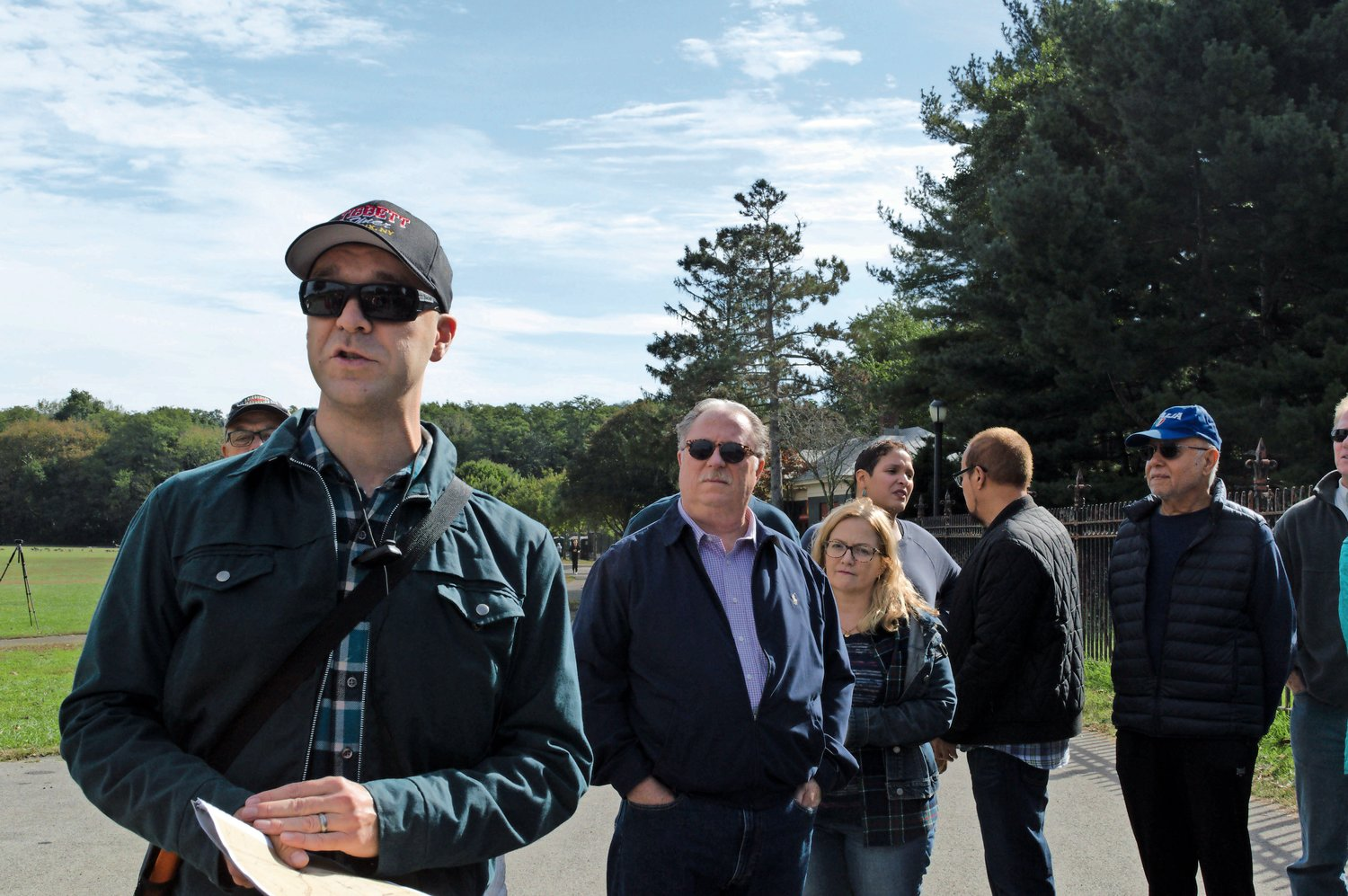 Nick Dembowski, the new president of the Kingsbridge Historical Society, goes over information before the start of the tour of Van Cortlandt Park.