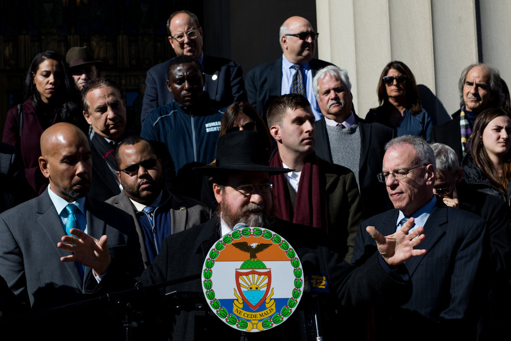 Rabbi Levi Shemtov speaks at a prayer vigil outside the Bronx County Courthouse Tuesday for the mass shooting victims at the Tree of Life Synagogue in Pittsburgh. The alleged gunman, identified by police as Robert Bowers, took the lives of 11 people in the Oct. 27 shooting, and upon his surrender reportedly told police he 'wanted all Jews to die.'
