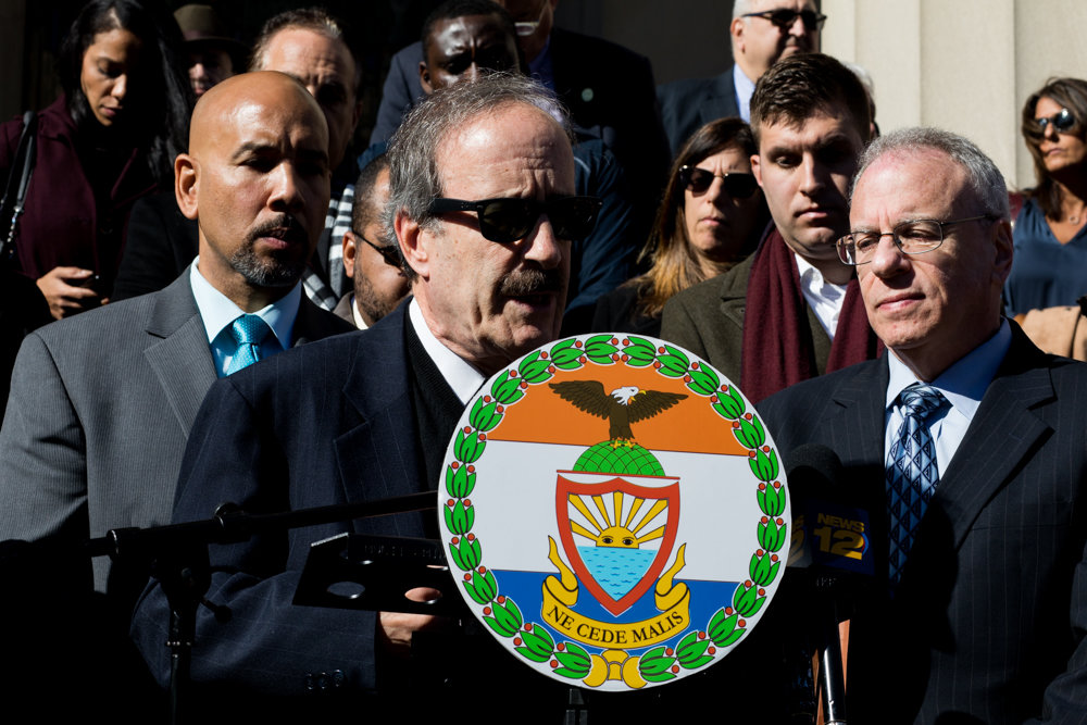 U.S. Rep. Eliot Engel calls on President Trump to tone down his inflammatory rhetoric and for sensible gun control laws at a prayer vigil Tuesday outside the Bronx County Courthouse for the 11 people killed at last Saturday's mass shooting at the Tree of Life Synagogue in Pittsburgh.