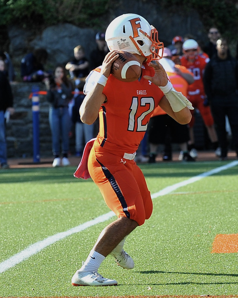 Fieldston senior quarterback Jesse Cooper-Leary saw his game against Rye Country Day come to an early end when he was forced to leave with a concussion.