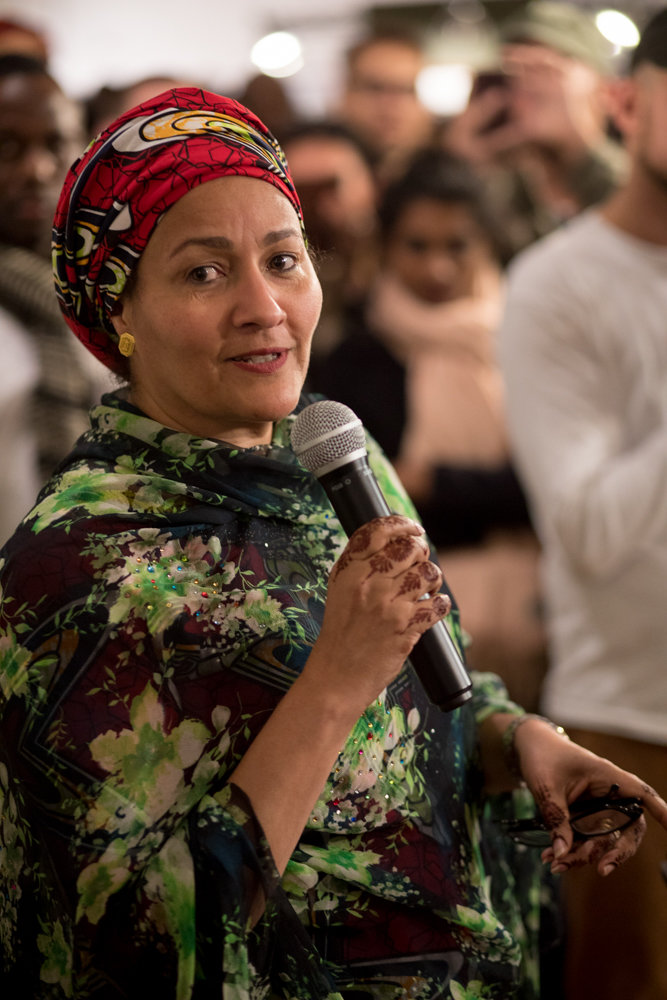 Amina Mohammed, the deputy secretary general to the United Nations, speaks about the importance of the work of Tim Hetherington and Chris Hondros, and how it helped end the Second Liberian Civil War at the opening of the exhibition 'War and Peace in Liberia,' which is on display at the Bronx Documentary Center through Dec. 16.