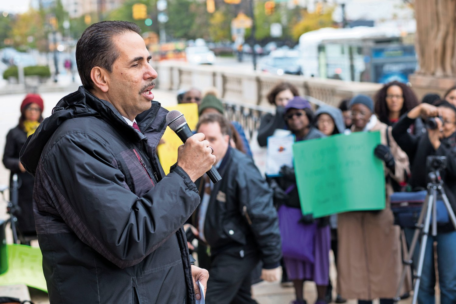 Councilman Fernando Cabrera speaks at a rally calling for improvements in healthcare in the Bronx, which ranks last out of the 62 counties in New York State in the County Health Rankings and Roadmaps Report.