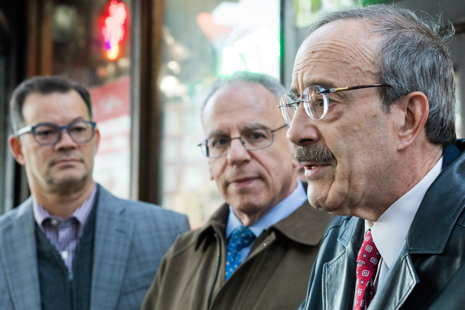 U.S. Rep. Eliot Engel speaks at a press conference outside of the Benjamin Franklin Reform Democratic Club about the need for the continuation of Robert Mueller's investigation into the Trump administration following the president's request for the resignation of Jeff Sessions, the former attorney general. The Ben Franklin Club convened the event on short notice, and brought together club members and elected officials, including Councilman Andrew Cohen, left, and Assemblyman Jeffrey Dinowitz.