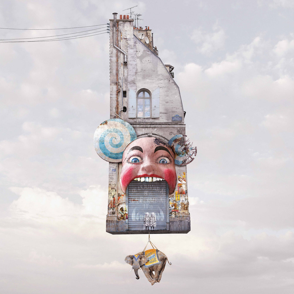 Laurent Chéhère creates a whimsical world of what flying buildings would look like in 'Cabaret.'