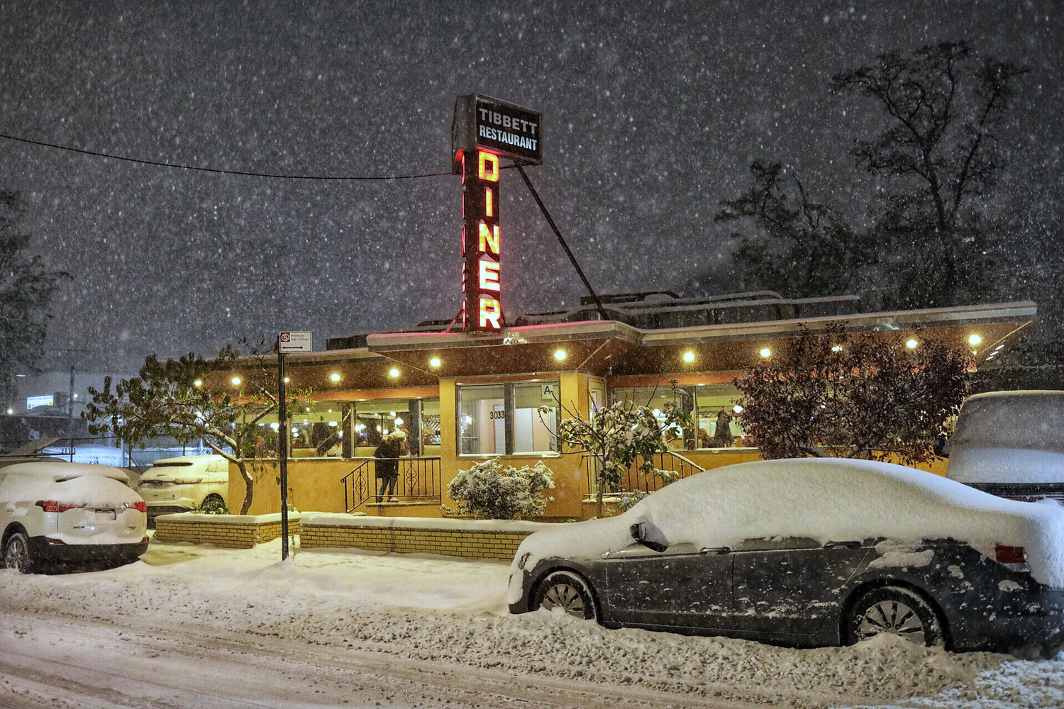 Tibbett Diner stands as a promise of a warm meal during the first snow of the season.