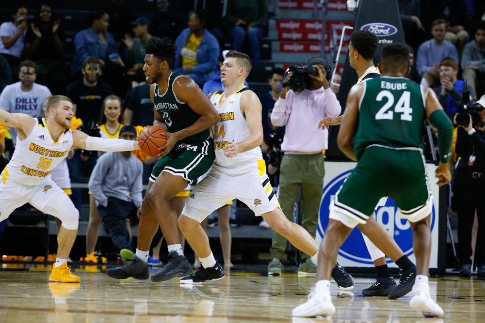 Manhattan College freshman center Warren Williams has a lot to smile about this season as he begins his college career with the Jaspers after being forced to sit out last season.