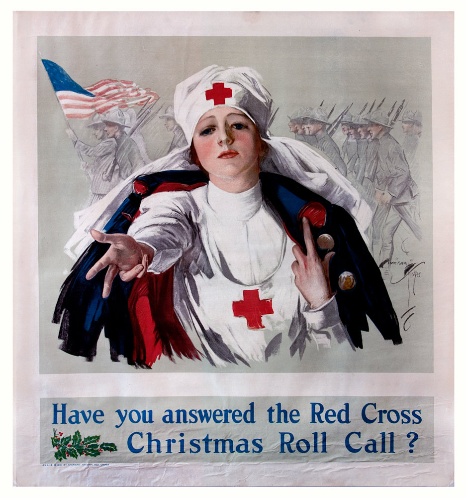 Harrison Fisher's 'Have You Answered the Red Cross Christmas Roll Call?' was an attempt to convince American women to help out during World War I. It's all part of the Hudson River Museum's latest exhibition, 'Women and War: Feminine Imagery in World War I Posters,' on display through Jan. 20.