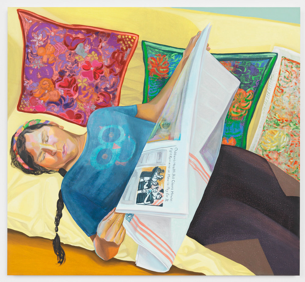 Aliza Nisenbaum painted 'Veronica Reading The New York Times' in 2018. Nisenbaum, who recently gave a talk about her work at the Lehman College Art Gallery, spends up to six hours with her subjects when painting their portraits.