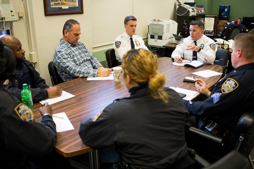 Capt. Emilio Melendez, second from right, talks to neighborhood coordination officers during a meeting at the 50th Precinct. Melendez is the newly minted commanding officer of the 5-0, following Deputy Inspector Terence O'Toole's transfer to the New York Police Department's Chief of Department's office, where he'll serve as commanding officer of the investigation review section.
