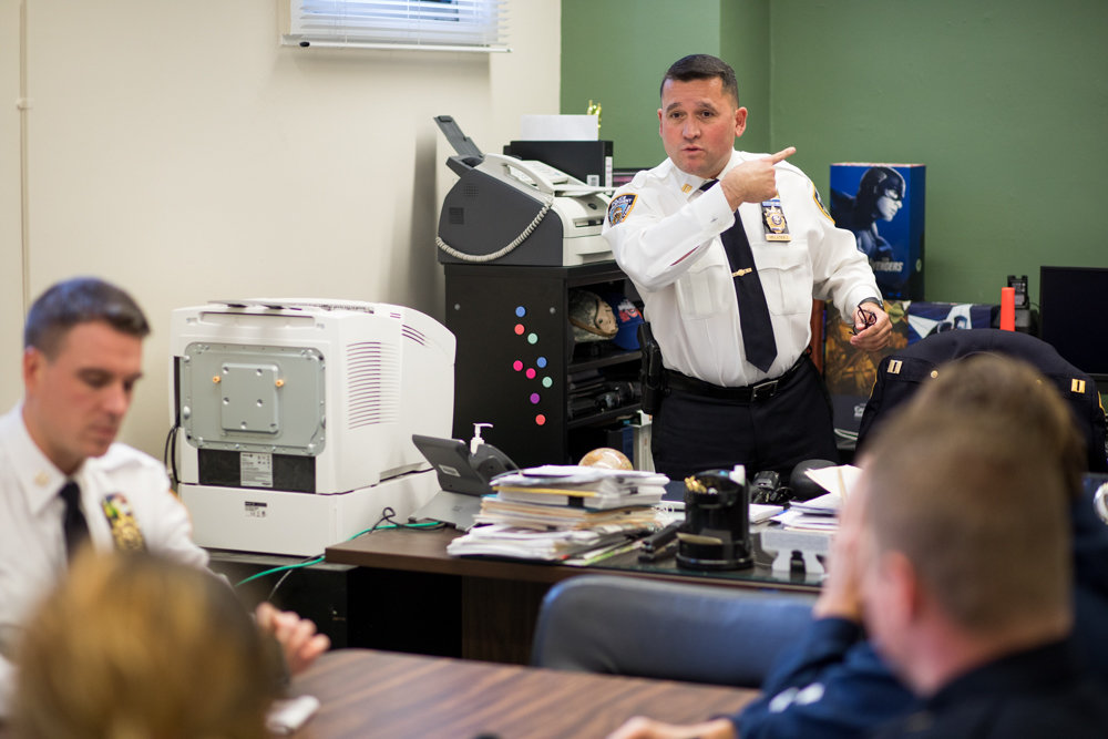 Capt. Emilio Melendez gets ready to lead a meeting with neighborhood coordination officers at the 50th Precinct as the new commanding officer, succeeding Deputy Inspector Terence O'Toole. Melendez previously served as executive officer in various higher-crime precincts, as well as in the U.S. Air Force.