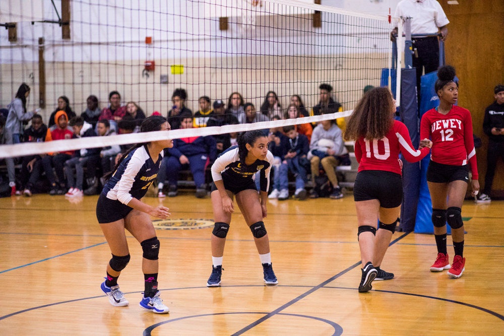 Riverdale/Kingsbridge Academy senior captain Krystal Paulino, right, saw her hopes of a third straight PSAL title quashed in a title game loss to Roosevelt last week.