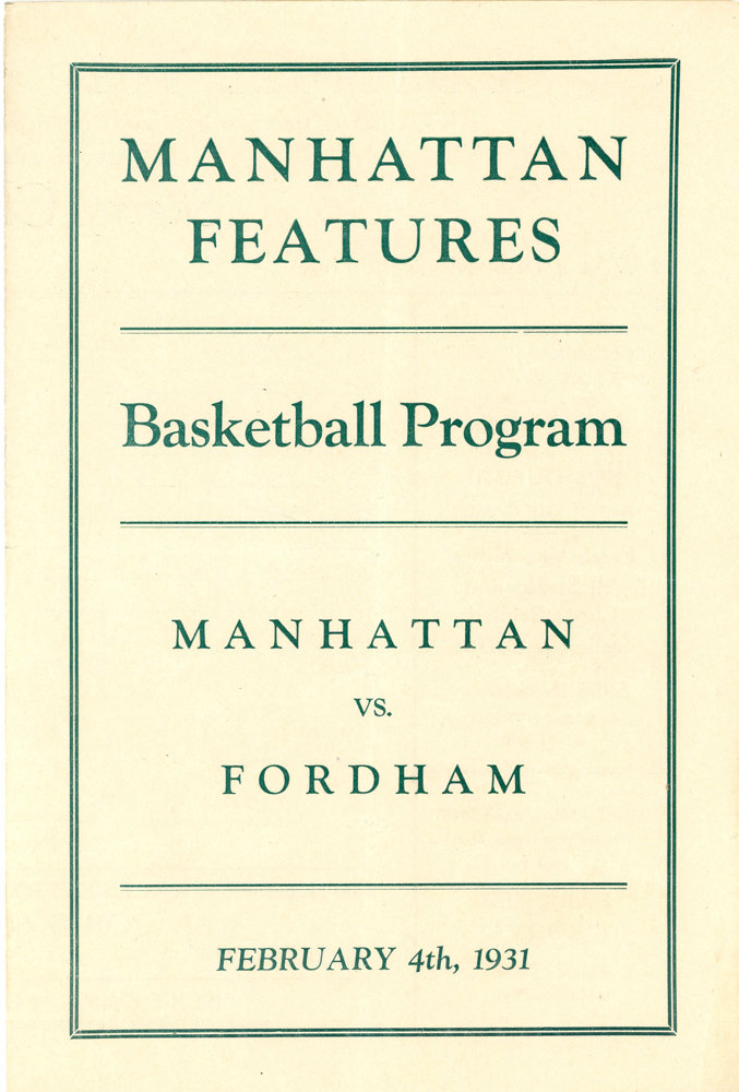 This program highlights the 1931 matchup between Manhattan College and Fordham played on Feb. 4 that year. Just 10 days later, the original film 'Dracula,' starring Bela Lugosi, was released in theaters.
