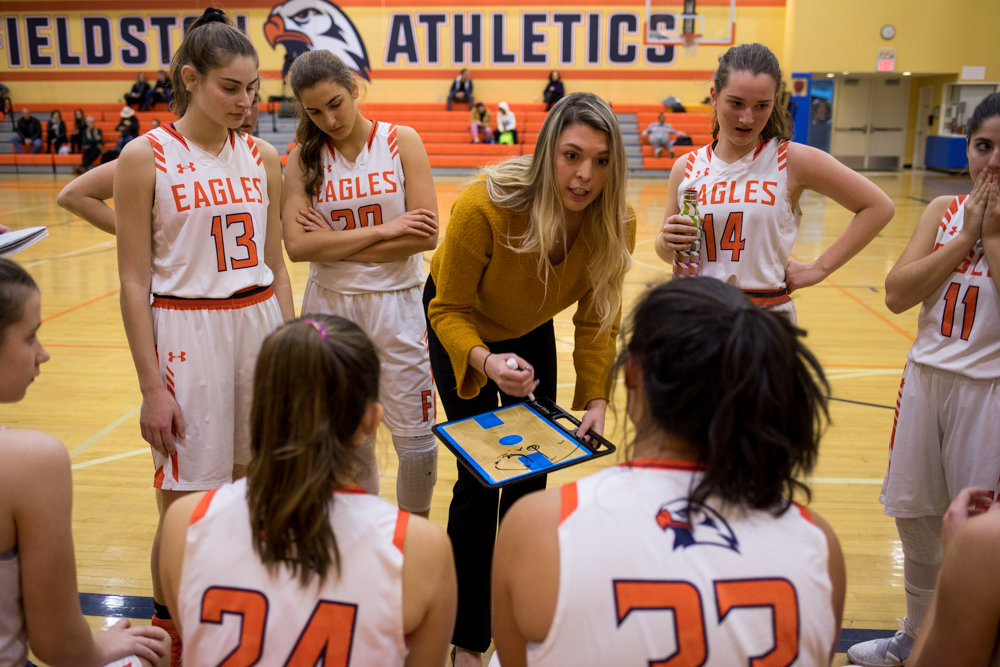 Former Manhattan College basketball star Maeve Parahus is now in her first season as head coach of the Fieldston girls basketball program.