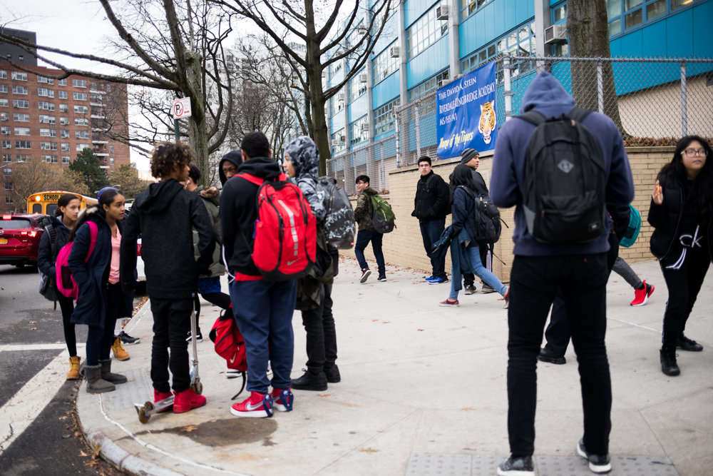Riverdale/Kingsbridge Academy students head out at the end of the school day. Two incidents just a few weeks apart have caused concern for parents. A social media threat was made against the school Nov. 15, and two students brought a gun to RKA on Dec. 7.