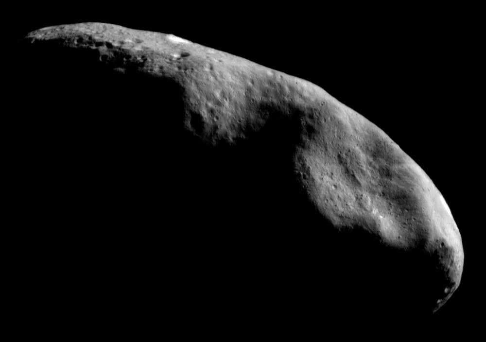 The Eros asteroid was discovered in 1898, but wouldn't be visited by humans until a century later when the NEAR Shoemaker probe conducted a flyby, before entering orbit in 2000.