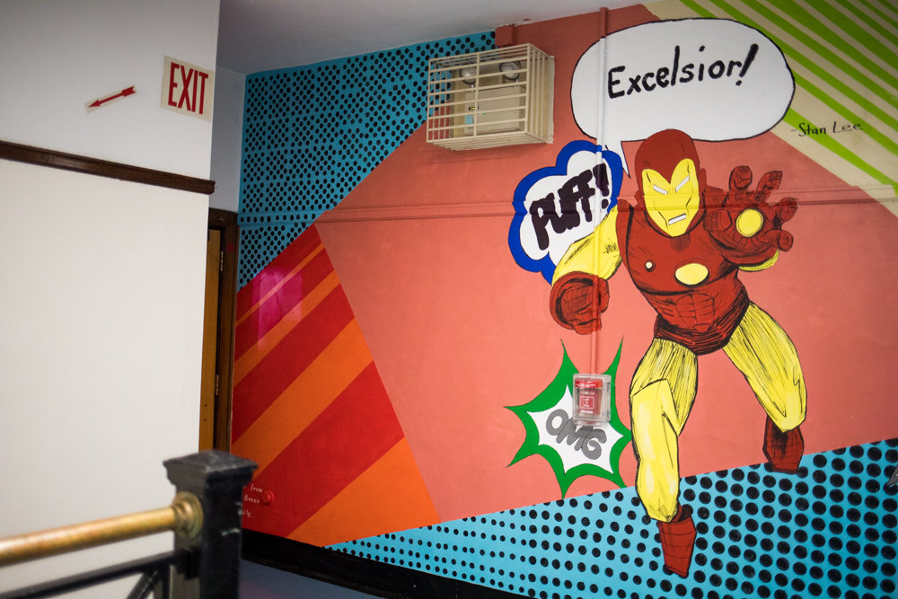 Iron Man is one of the featured characters in a mural dedicated to Stan Lee and his legacy at DeWitt Clinton High School by Delania Alma. Lee graduated from Clinton in 1939, and died Nov. 12.
