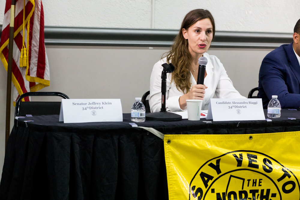 Alessandra Biaggi responds to a question at a nonpartisan candidates forum organized by the Northwest Bronx Community and Clergy Coalition on Aug. 22. Biaggi, now the state senator-elect, made voting rights one of the major tenets of her campaign to oust former Independent Democratic Conference leader Jeffrey Klein.